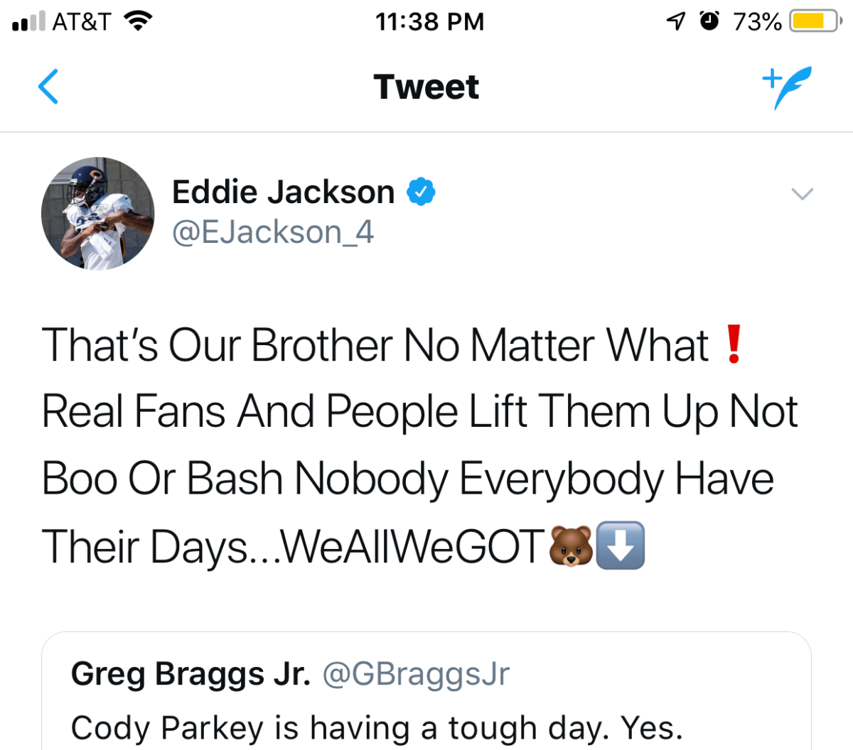 Eddie Jackson Is A Stand Up Guy Greese Chicago Life
